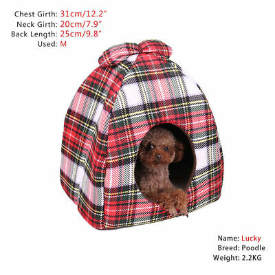 Pet Cat Kitten Puppy Cubby Cave Bed Tapered Nest House Cushion Mat Plaid House