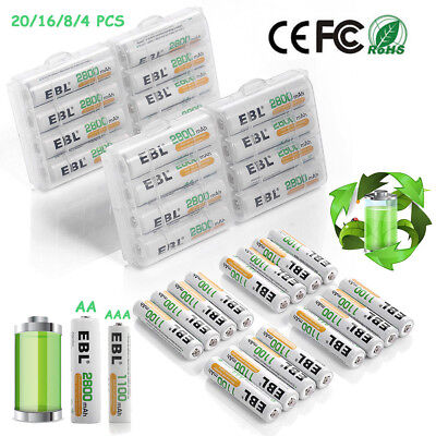 EBL AAA AA Ni-MH Rechargeable Batteries Pack for Camera Toys Remote Flashlights