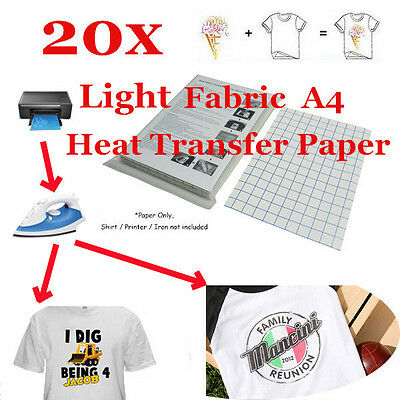 20 Sheet-T-Shirt Inkjet Iron-On Heat Transfer Paper For Light Fabric A4 US STOCK