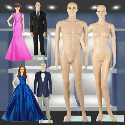 1X Female + 1X Male Full Body Realistic Mannequin Display Head Turns Dress Stand