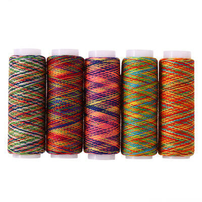5pcs Rainbow Color Polyester Embroidery Hand Stitching Machine Sewing Threads