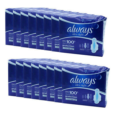 Always Ultra Night Pads  with Wings 7 x 16,Total 112 Pads- 100% Protection