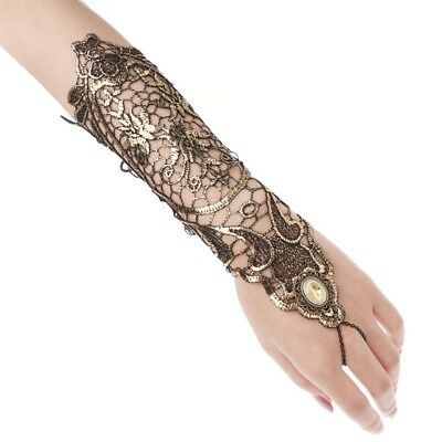 Women Lady Retro Gloves Vintage Golden Long Lace Hollow Out Fingerless Costume