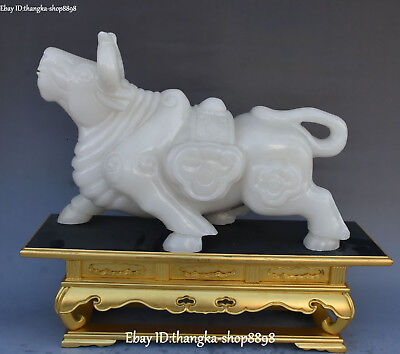 Real Natural White Jade Carving Zodiac Year Running Bull Cattle Animal Statue