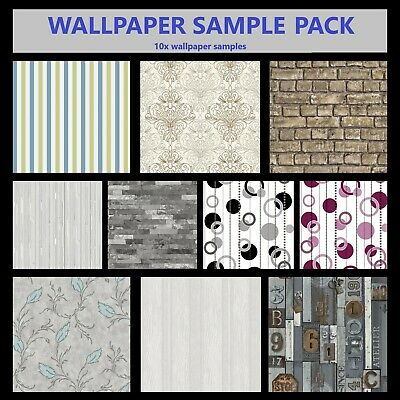 10 x Wall Paper Samples BRICK & STONE 3D LOOK Textured Feature Wallpaper Sample