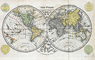 Map of the World Reproduction 1873 Print