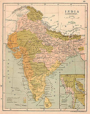 Map of India 1900  Print  8 X 10