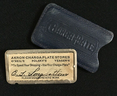 Farrington Charga-Plate 1930s Credit Card O'Neil's Polsky's Yeager's Akron, OH
