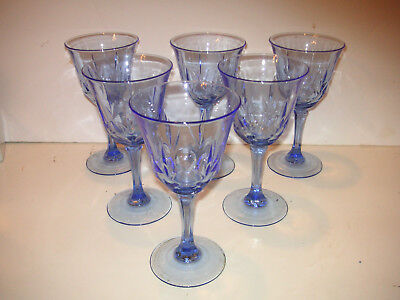 AVON AMERICAN Classic BLUE Fostoria GLASS WATER large wine GOBLETS SET OF 6