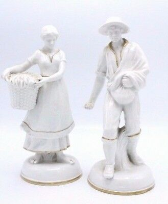 """Vintage Pair of French Glazed Porcelain Figures of Woman w/ Basket & Man ~ 10"""""""