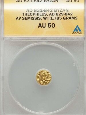 Byzantine Empire Theophilus semissis ANACS AU50 Ancient gold coin