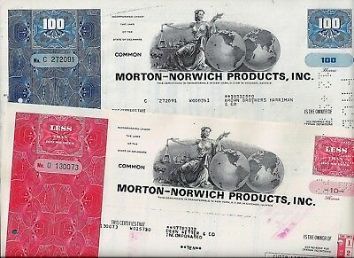 Special: 2 x Morton-Norwich Products Inc., 1973/74 (10/100 Shares)