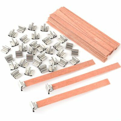 40Pcs Wooden Wick Candle Core Sustainers Tab DIY Candle Making 12.5 x 150mm US