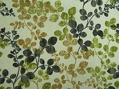 CABRERA GREYSTONE Richloom Linen/Cotton Floral Print Fabric Green Black Gold