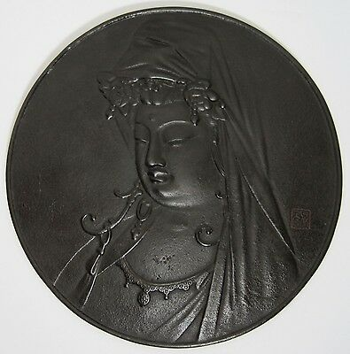 Antique Chinese Cast Iron Bas Relief Sculpture Plaque Guanyin Signed 19Th Cent