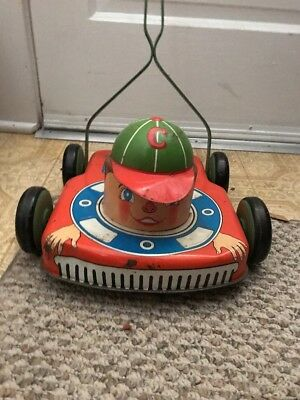 Vintage  Ohio Art Co Tin Toy Lawn Mower Chipper the Clipper Litho 1950s HTF