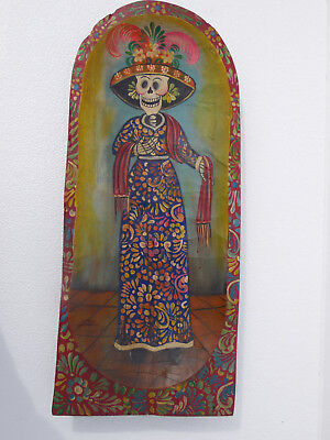 Hand painted wood dough bowl with day of the dead scene, mexican folk art