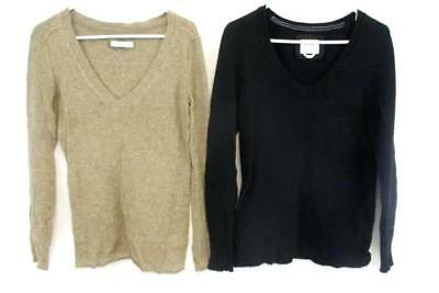 Lot of 2 Old Navy Women's Sweater V Neck Pullover Tan Black Wool Blend Sz Large