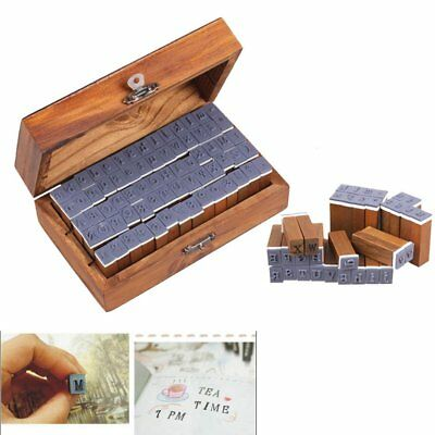 28~70PCS Retro Rubber Stamp Alphabet Wooden Box Set Print Style Letters / Number