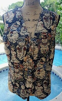 Vintage 80's Snowmen (I HAVE ISSUES-SEE CONDITION) Tapestry Vest
