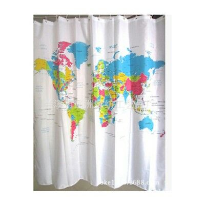 World Map Shower Curtain Bathroom Polyester Decoration With Hooks 180x180cm