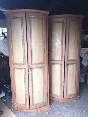 Pair Of Antique Painted Continental Bow Front Corner Cabinets