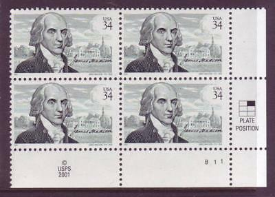 #3545 James Madison. Wholesale Lot Of (10) Mint Plate Blocks. F-Vf Nh!