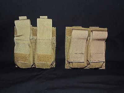 2 LBT Coyote Tan MOLLE Front Pull Double Magazine Speed Pouch w Kydex Retention