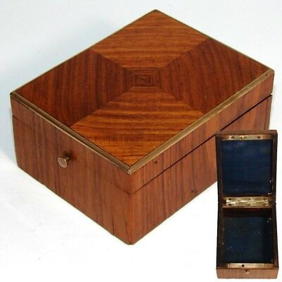 Antique French Napoleon III Pocket Watch or Jewelry Casket, Kingwood Marquetry