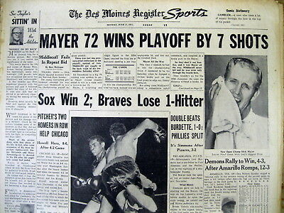 5 1957 newspapers DICK MAYER wins US OPEN at Inverness Golf Club in TOLEDO Ohio