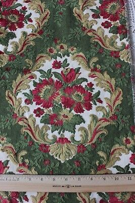 Vintage French Cut Cotton Velvet Red & Green Home Dec Sample Fabric c1930~Frame
