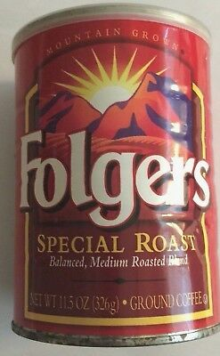"VTG Folgers Coffee Tin Can~Special Roast Ground~Unopened~11.5 oz ~5½""T x 4""W"