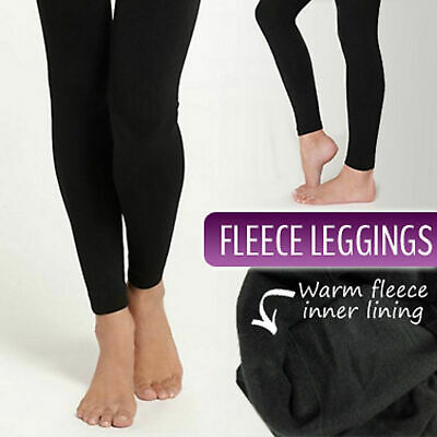 Ladies Brushed Black Full Length Tights with Fleece Lining Fits S-XL