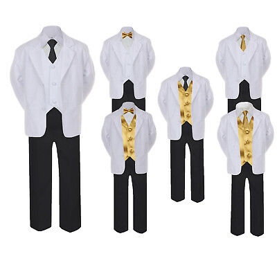 5-7pc Formal Black White Suit Gold Bow Tie Neck Vest Boy Baby Sm-20 Teen