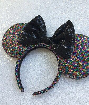 Sequin Minnie Mouse Inspired Rainbow Bow Mouse Ears Mickey Mouse Inspired Ears