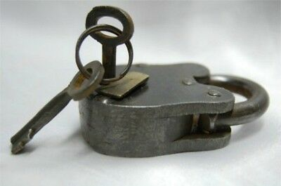 "Antique Style Iron Padlock Lock Brass Rustic Finish 2.75"" with Skeleton Keys"