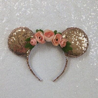 Sequin Floral Minnie Mouse Ears Rose Gold Kids size