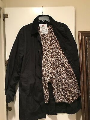 207458f9b490 SUPREME LEOPARD LINED Trench Coat FW11 Size L Black *msg4ofr ...
