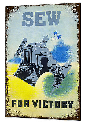 Sew For Victory War Vintage Metal Sign Retro Tin Holiday Plaque Advert