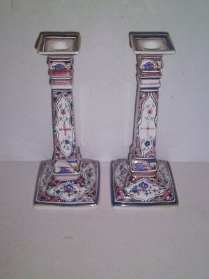 """Vtg Nora Fenton Portugal Hand Painted Ceramic Pottery PAIR CANDLE HOLDERS 10.25"""""""