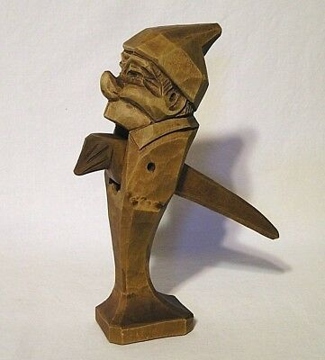 "Hand Carved Wooden Character Nut Cracker Square Pedestal Base 9 3/8"" Tall"