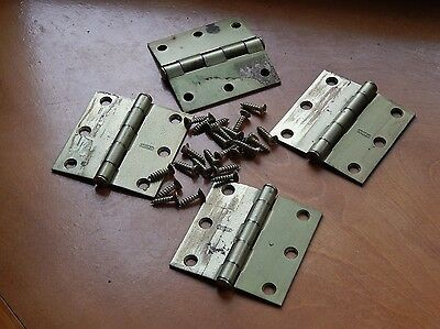 "Vintage Antique Stanley brass 3"" x 3"" hinges (4) with 24 original screws"