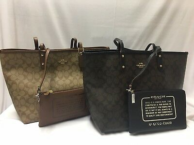 NWT Coach Siguature Reversible City Tote with Pouch Brown/Black/Saddle F36658
