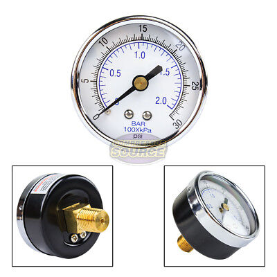 "Quality 1/4"" NPT Air Pressure Gauge 0-30 PSI Center / Back Mnt Mount 2"" Face New"