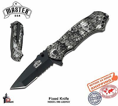 Master USA Folding Knife Black Half Serrated Balde Grey Skull Handle MU-A009GY