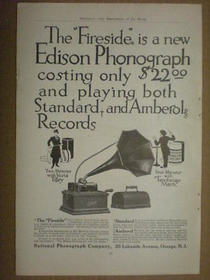 1909 Ad Victor Herbert Fireside National Phonograph co 2 page print