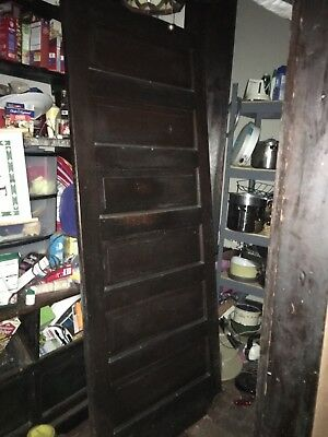 Antique Oak 6 Panel Interior Door And Oak Front Entry Door W/ Beveled Glass