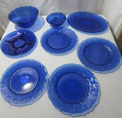AVON COBALT BLUE ROYAL SAPPHIRE 8 PC 4 Dinner Plate Serving Bowls Platter Relish