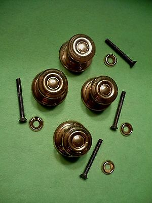 """Set of 4 LARGE two-piece solid brass round drawer pulls / small door pulls. 1.5"""""""