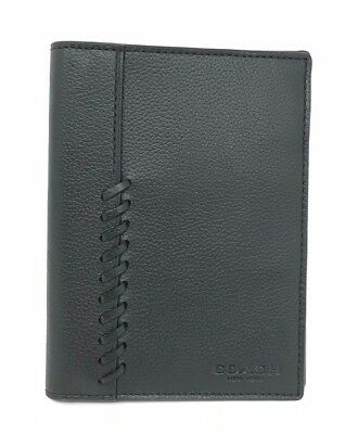 Coach Men's Leather Passport Case Wallet Baseball Stitch F22538 Black $150